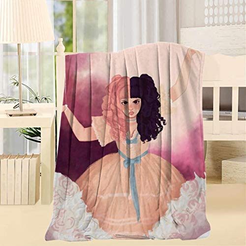 Beauty Girl Fleece Throw Blanket Super Soft White Throw 50x60inch