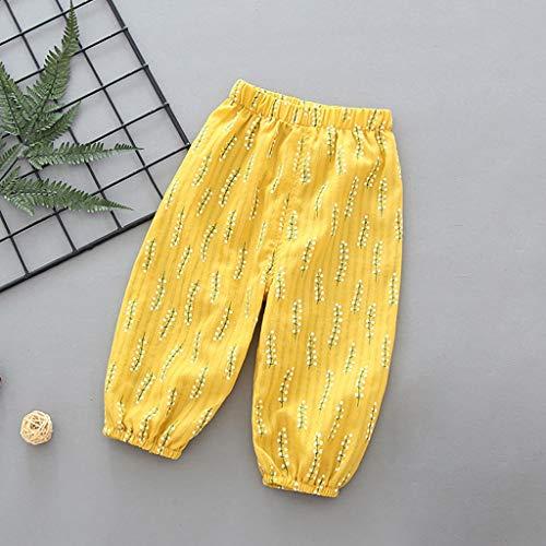 Janly Clearance Sale Pantalones para niños de 0 a 5 años de edad, pantalones de farol para niños, de algodón, pantalones de aire acondicionado, para niños pequeños, amarillo, 2-3 años