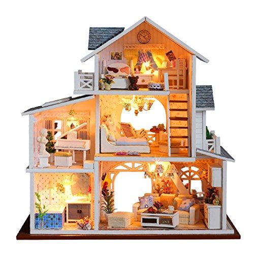 Sharplace DIY Dolls House Kit Miniatura de Madera con Muebles Luces led Ciudad Europea