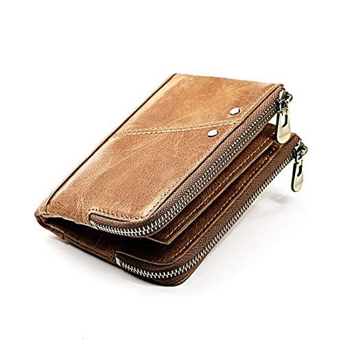 XUEE Mens portemonnee RFID-blokkerende lederen portemonnee voor heren, drievoudige creditcardhouder met muntzak RFID-antidiefstalborstel