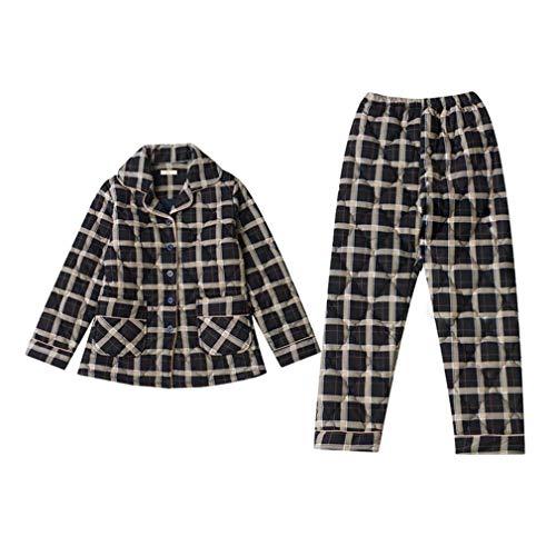 INSTO Pijamas para Mujer Otoño Invierno Vuelta Tela Escocés Plaid Chaqueta Homewear Sleepwear Loungewear,Negro,L