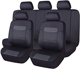 Flying Banner 11 PCS Car Seat Covers Full Set   Universal fit Most Car,Truck,SUV and Van   Waterproof Composite Sponge Inside Airbag Compatible   Black PVC Leather 004-Style