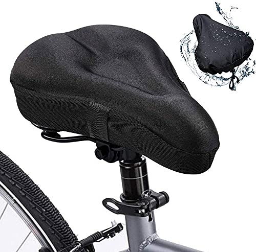 Exercise Bike Seat Cushion Cover for Women Men Comfort , Soft Gel Padded Bicycle Seat Cover, Waterproof Seat Cover for Spin Peloton Stationary Cruiser Bicycles Indoor Cycling Black