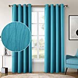 HOMEIDEAS Textured Bedroom Curtains 52 X 84 Inch Long Set of 2 Panels Teal Blue Blackout Room Darkening Curtains/Drapes,Thermal Grommet Window Light Blocking Curtains for Living Room