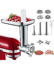 Comfun Vleesmolen, opzetstuk voor KitchenAid, staande mixer, vleesmolen, accessoires met 4 slijpschijven, 3 worstvullers voor KitchenAid keukenmachines, aluminiumlegering, elektrisch opzetstuk voor vleesmolen