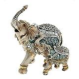 Superbe figurines à collectionner Mère et bébé éléphant Bleu acier, emballé dans une boîte, 26cm x 23cm