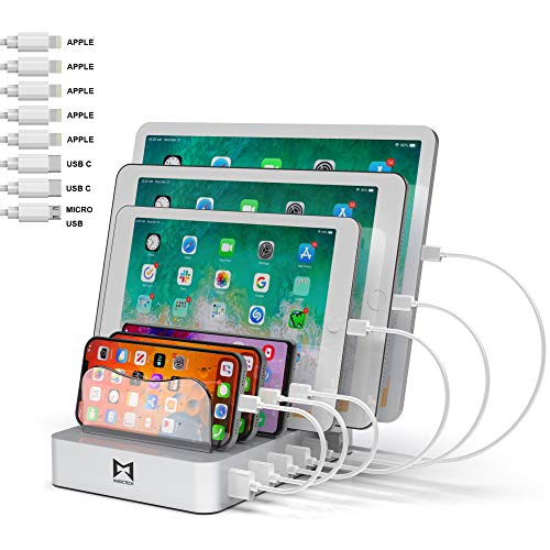 MAGICTECH-USB Charger Station for Multiple Devices with 5 lPhone Charger Cables + 2 Type-C Cables + 1 Micro Cable Included for iPhone, Ipad, Cell Phone and Tablets (FCC,ETL,CE and RoHS Certified)