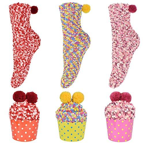 3/1 par de mujeres cálido calcetines coloridos Cupcake embalaje Coral Fleece calcetines Navidad día de San Valentín DIY regalo para esposa, D, talla única