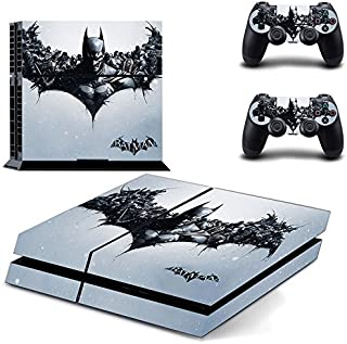 Kartice PS4 Console Vinyl Decal Protective Skin Cover Sticker for Sony PlayStation 4 Console System plus Two(2) Decals for: PS4 Dualshock Controller -Batman Arkham Batman Emblem and Evil Joker