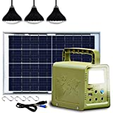 ECO-WORTHY 84Wh Sistema de kit de iluminación de generador solar de estación de energía portátil con panel solar de 18W y lámpara LED para acampar al aire libre, emergencia en el hogar