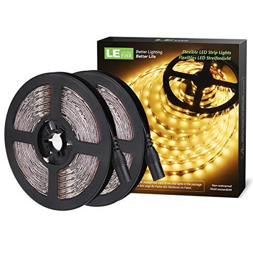LE Tira LED, 5m 300 LED Luces SMD 2835 Blanco Cálido, No Impermeable 6000K para Techo, Escaparate, Muebles, etc. Pack de 2
