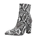 QinMM Frauen Snakeskin Leopard Toe Zip Dicke Spitzen Stiefel Schuhe Hohe Schuhe Mittlere Schlauchschuhe Winter