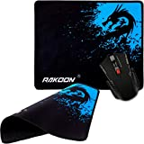 RAKOON Gaming Office Mousepad Neopren pad Rutschfest, weiche Matte Drache blau