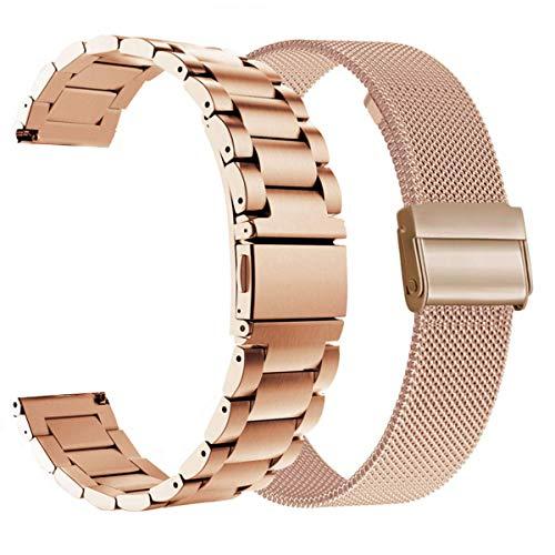 WATORY Pulsera compatible con Daniel Wellington/Fossil Gen 4 Q Venture HR de 36 mm, malla de acero inoxidable de 18 mm, correa de repuesto para Garmin Vivoactive 4S, oro rosa