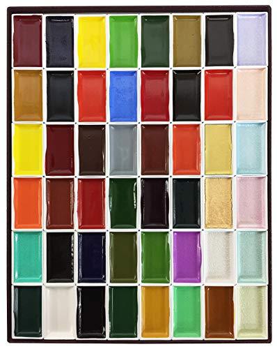 Nihonga Sumi-e Watercolor Paint Pan Set, 48 colors