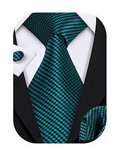 Barry.Wang Mens Ties Silk Tie Pocket Square Cufflinks Set Woven Designer Green Teal