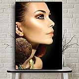 N / A Mode afrikanische Frau indische Porträt Leinwand Malerei Poster und druckt Wohnzimmer Wandbild rahmenlose Malerei 50cmX75cm