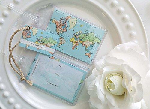 30 World Map Luggage Tags Aqua sea 1.50 ea.