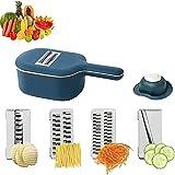 GUANTIAN 8 piezas cortador de verduras, cortador de mandolina multifunción 4 cuchillas reemplazables cortador de alimentos con contenedor para repollo, zanahoria, tomate, patata, fruta