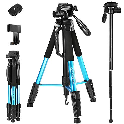 72-Inch Camera/Phone Tripod, Aluminum Tripod & Monopod Full Size for DSLR with 2 Quick Release Plates,Universal Phone Mount and Convenient Carrying Case Ideal for Travel and Work - MH1 Blue