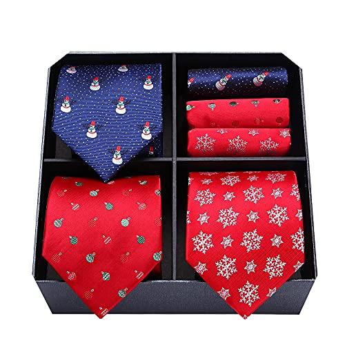 HISDERN Lot 3 PCS Men's Fun Christmas Tie Set Necktie &...