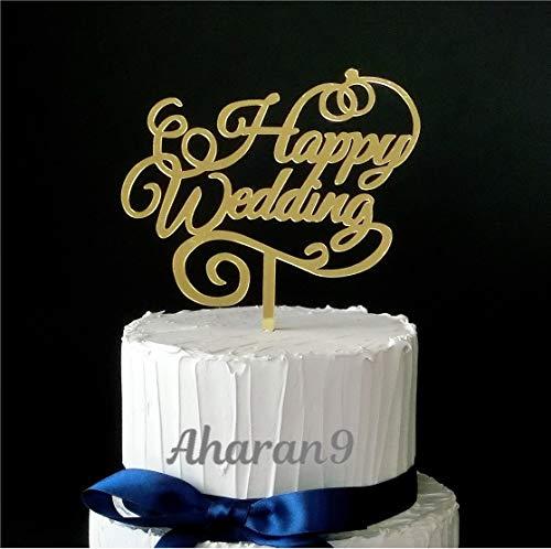 Aharan9 (アハランナイン) ケーキトッパー 結婚式 ウェディング 飾り付け ウェディングケーキ デコレーション (HAPPY WEDDING ミラーゴールド)