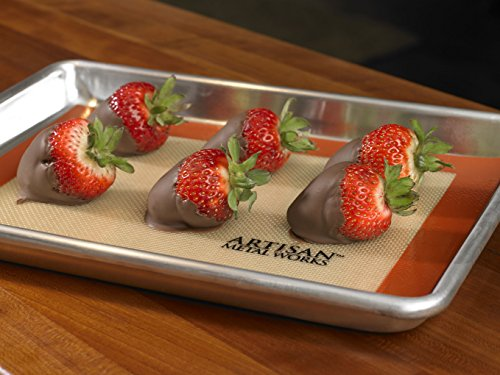 Artisan 2-Piece Professional Baking Set with Quarter-Size  Cookie Sheet Pan and Silicone Baking Mat with Red Border