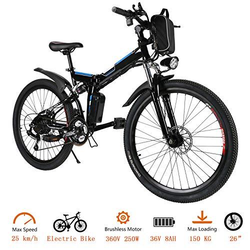 """Oppikle Vélo Electrique 26"""" E-Bike - VTT Pliant 36V 250W Batterie au Lithium de Grande Capacité - Ville léger Vélo de avec moyeu 21 Vitesses (Noir)"""