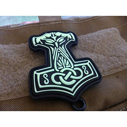 Jackets To Go JTG Thors Hammer Mjölnir Patch, GID (Glow in The Dark) / 3D Rubber Patch