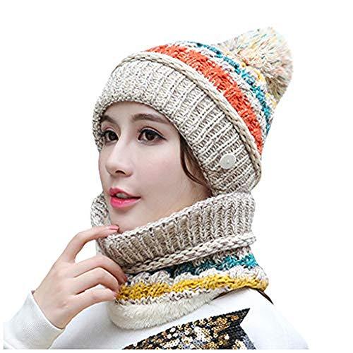 YXIU Damen Winter Warme Mütze Gestrickte Beanie Mütze mit Schirm, Winddicht Wärmemasken Strickmütze Schal 2 Stücke Set (Beige)