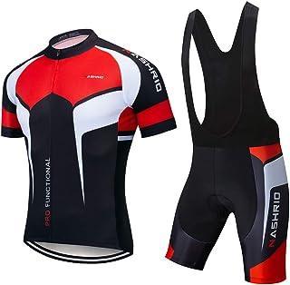 NASHRIO Men`s Cycling Jersey Set Bicycle Short Sleeve Set Quick-Dry Breathable Shirt+3D Cushion Shorts Padded Pants/Bib Short