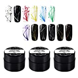 12Colori Set di gel per ragno per unghie, Disegno di vernice per unghie Disegno di gel per unghie per linea, Richiedi lampada UV LED per asciugatrice per unghie, con pennello per unghie