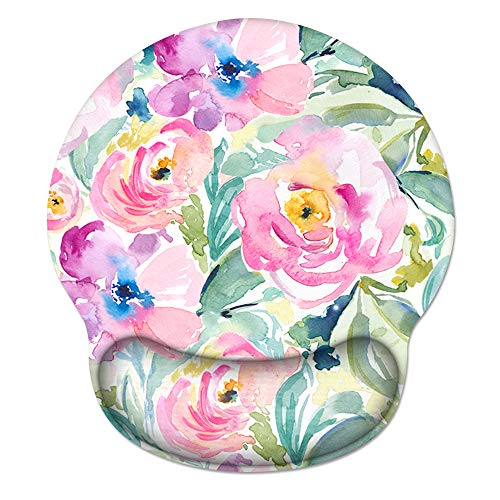 HAOCOO Ergonomic Mouse Pad with Wrist Support Non-Slip Backing Gel Mouse Pad Wrist Rest, Easy-Typing and Pain Relief for Gaming Office Computer Laptop (Colorful Floral)