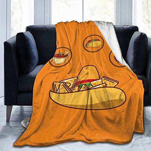 AEMAPE Köstlicher Hut Nacho Sauce Taco und Burrito Soft Blanket Robust Cosy Bed Throws Fit Home Couch Sofa für die ganze Saison