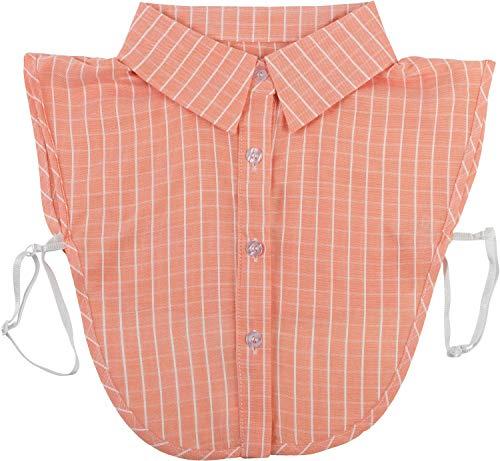 styleBREAKER Damen Blusenkragen Einsatz mit Nadelstreifen Muster und Knopfleiste, Kragen für Blusen und Pullover, Business Style 08020009, Farbe:Apricot