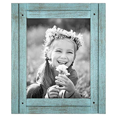 Americanflat 8x10 Rustic Picture Frame in Turquoise Blue with Textured Wood and Polished Glass - Horizontal and Vertical Formats for Wall and Tabletop