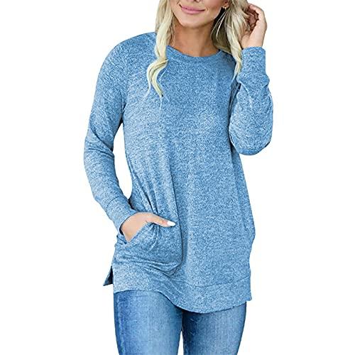 O-Neck Tops para mujer Color Contraste de Manga Larga Camiseta Casual Pullover Sweatshir Top, azul, 3XL