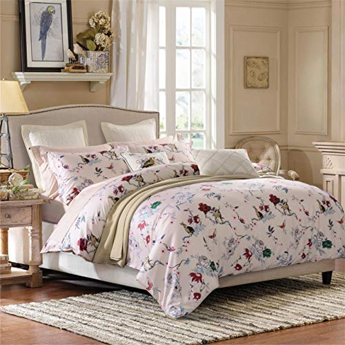 Softta Shabby Floral Vine Flower and Animals, Deers, Birds,Rabbit Pattern Design Bedding Set Twin Size 3Pc(1 Duvet Cover +2 Pillowcase/Cover) 60% Bamboo Fiber + 40% Egyptian Cotton Small Fresh