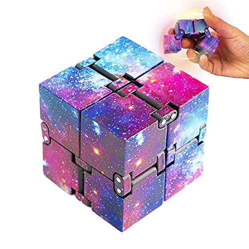 wellin international Galaxy Infinity Cube Square Fidget Toys Blocks,Funny Hilarious and Novelty Sensory Mini Infinity Cube Desk Toys (Galaxy)