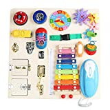 Tablero ocupado Montessori para niños pequeños: juguetes sensoriales madera martillar, golpear y xilófono, juguetes educativos de aprendizaje para niñas y niños: mejora las habilidades motoras finas