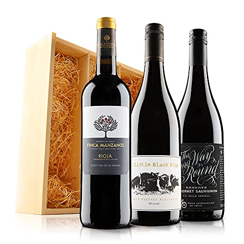 Classic Red Wine Trio in Wooden Gift Box - 3 Bottles (75cl) - Virgin Wines