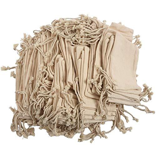 Bolsa de almacenamiento de cocina 100 bolsas pequeñas de 100% algodón con cordón (color: bolsillos de paquete)