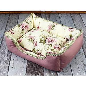 Hundebett – Bed N Roses – in creme, beige und altrosa mit Rosen Motiv shabby