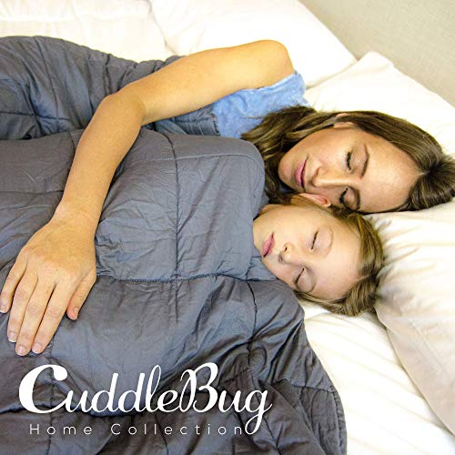 CuddleBug Weighted Blanket Adult and Kids   Heavy Weighted Blanket - 100% Cotton Material with Glass Bead Filling (Grey)