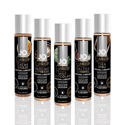 System Jo H2O Flavored Lubricant Collection - 5 Gelato Flavors - Creme Brulee, Hazelnut Espresso, Mint Chocolate, Salted Caramel, Tiramisu - 1oz Bottle of Each Flavor