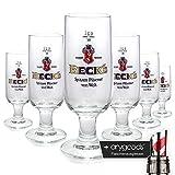 6 x Becks 0,2l Glas/Gläser, Pokal, Spitzen Pilsener von Welt, Bierglas NEU + anygoods...