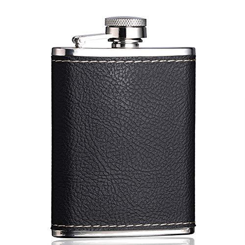SCKL Boccetta Dell'anca dell'Acciaio Inossidabile, 4 Oz Leak Proof Flask, Copertura in Pelle Nera per L'alcool, Whisky, Rum E Vodka/Regalo per Gli Uomini
