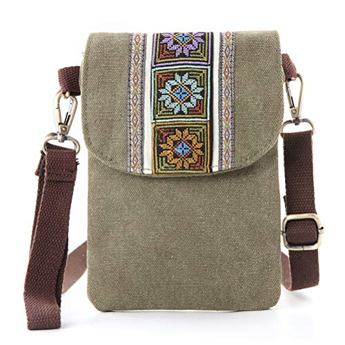 Silkarea Vintage Embroidered Canvas Small Flip Crossbody Bag Cell Phone Pouch for Women Wristlet Wallet Bag Coin Purse (ArmyGreen 01)