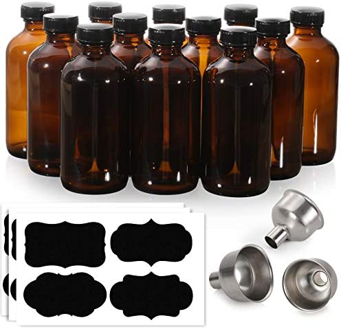 12 Pack 8 oz Glass Amber Bottles with Black Poly Cone Cap 3 Stainless Steel Funnels 12 Labels product image