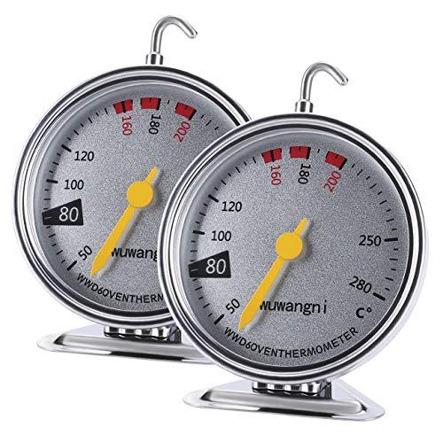 GuDoQi Backofenthermometer, 2 Stück Ofenthermometer mit Großer Anzeige, Aus Edelstahl, Aufhängen und Hinstellen, Fleischthermometer